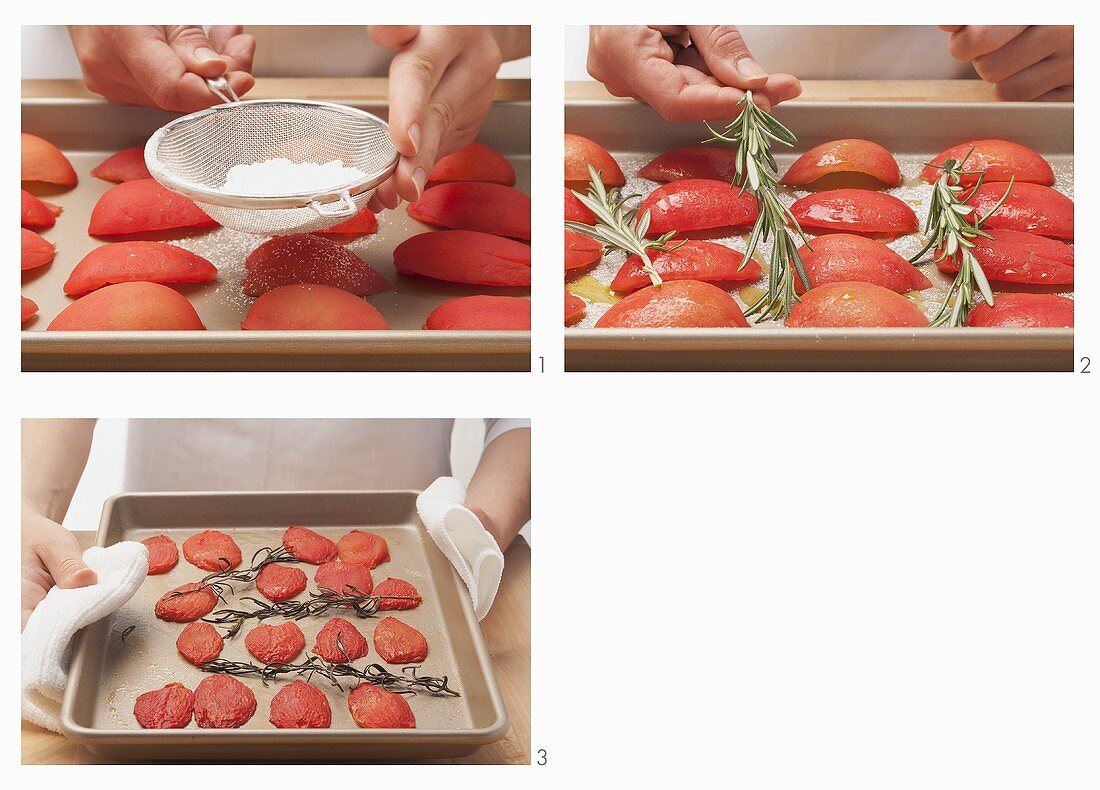 Oven roasted tomatoes being prepared