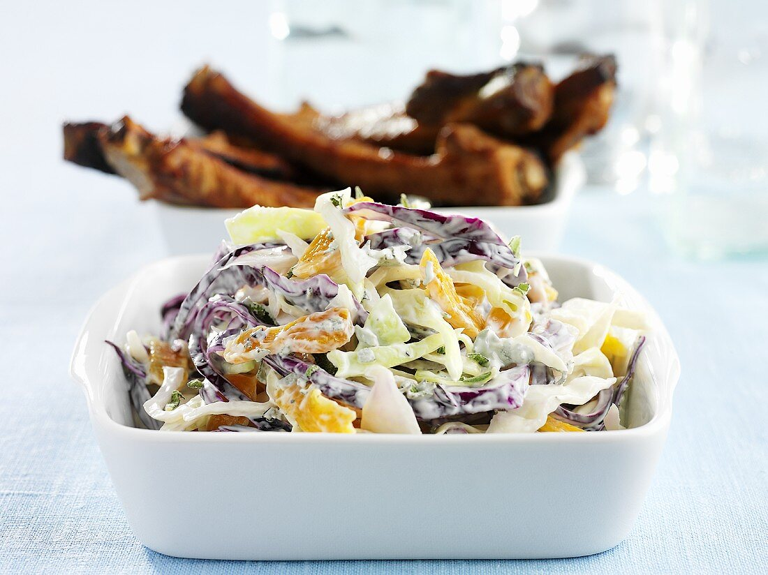 Coleslaw and spare ribs