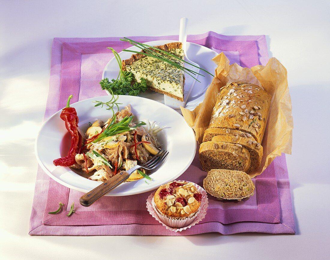 Emmer pasta with mushroom & lentil sauce, spelt & kamut bread