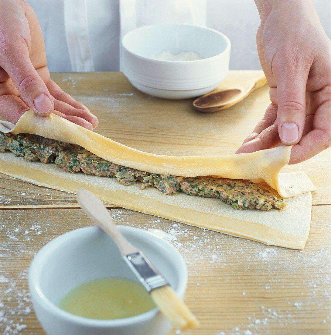 Making Swabian Maultaschen (filled pasta parcels)