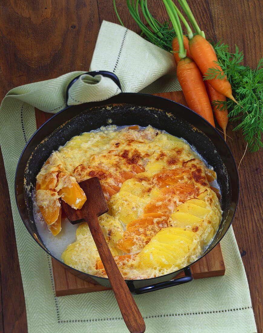 Carrot and potato gratin with feta cheese
