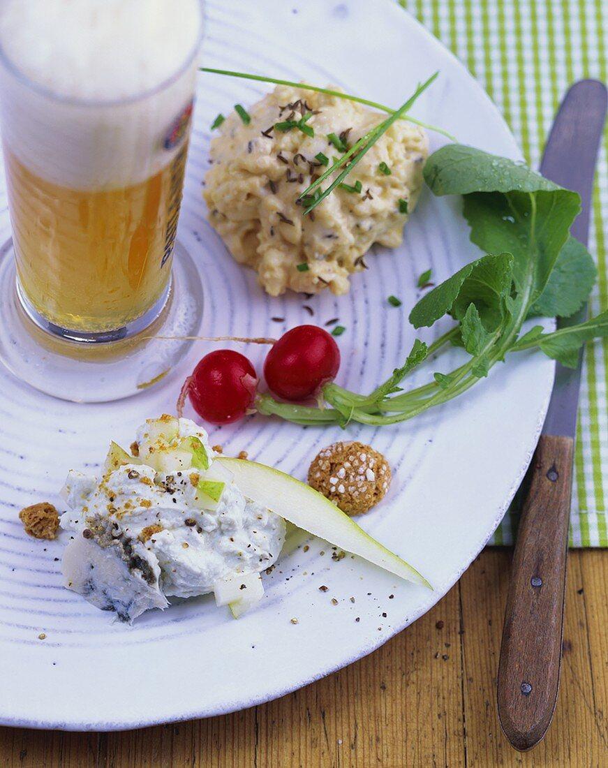 Two kinds of obatzda (Camembert spread) & wheat beer (Bavaria, DE)