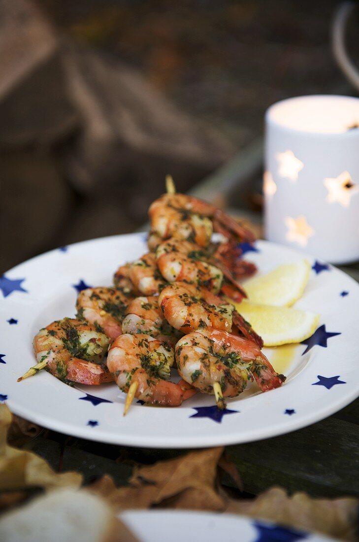 Marinated prawn kebabs