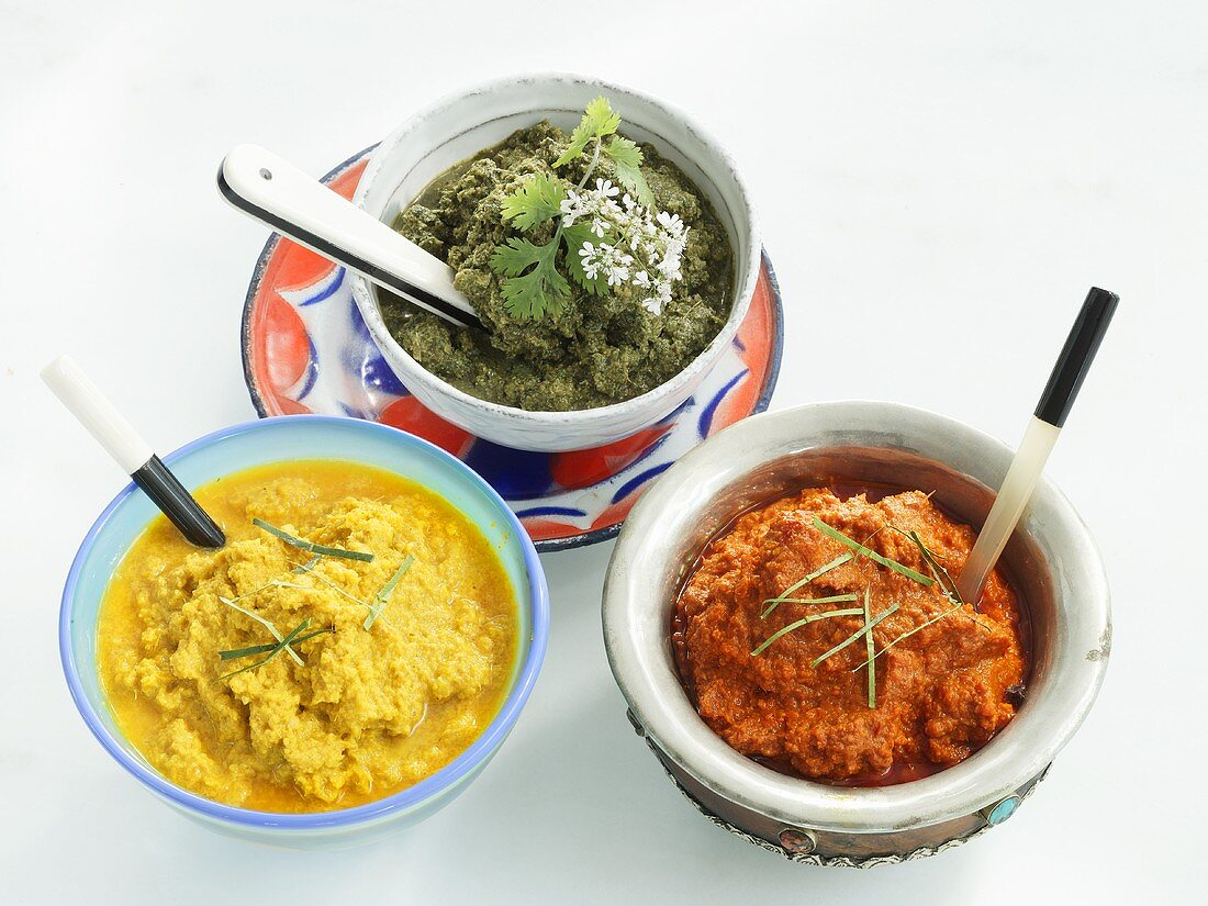 Red, green and yellow chilli paste