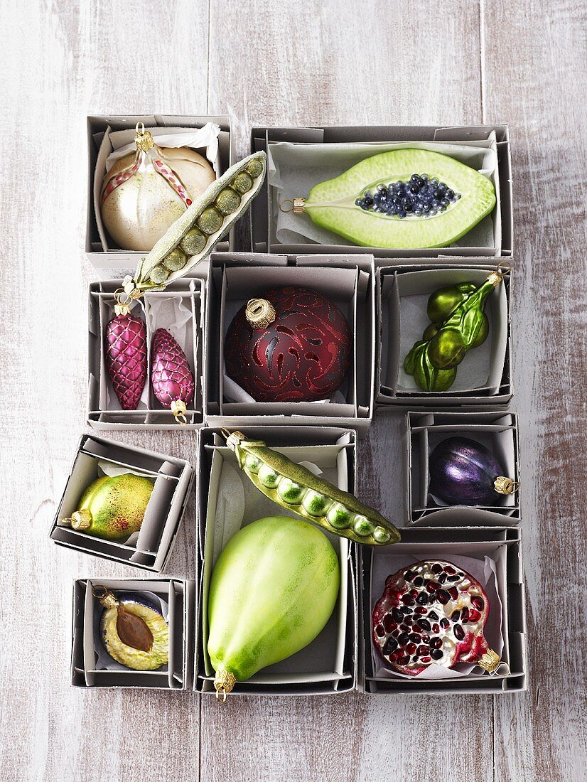 Christmas tree ornaments in shape of fruit and vegetables