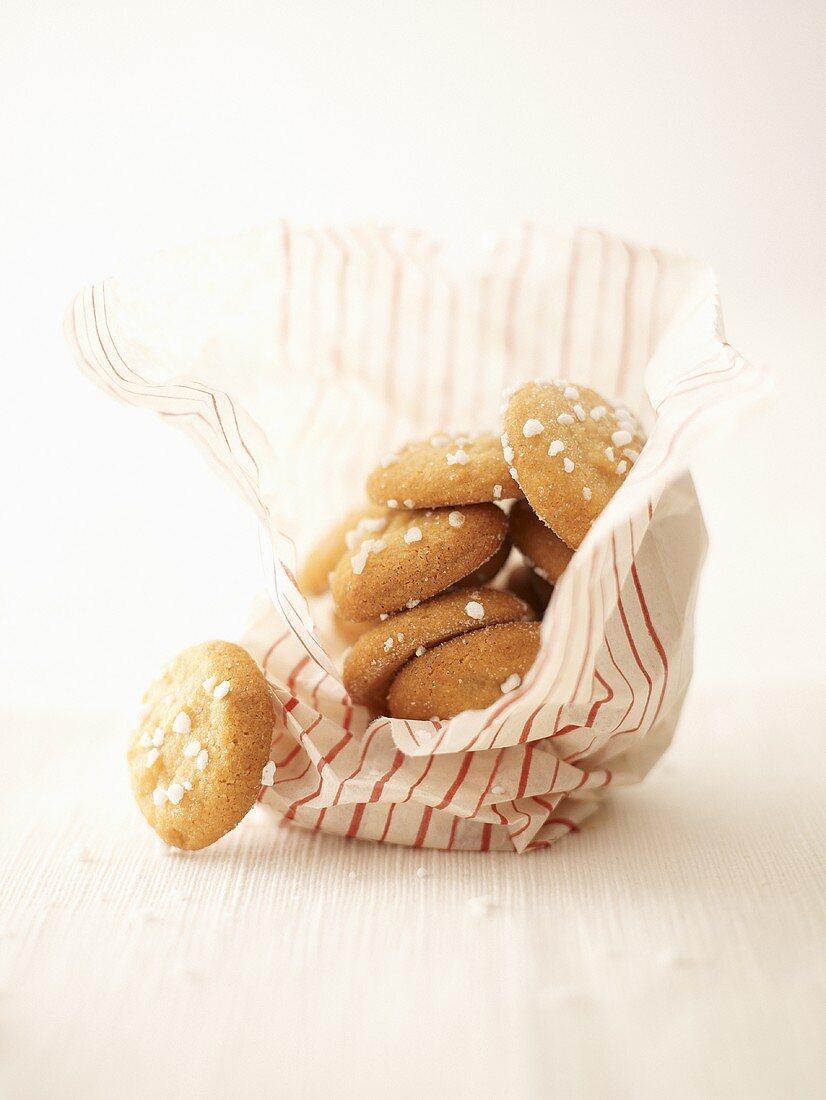 Amaretti in a paper bag