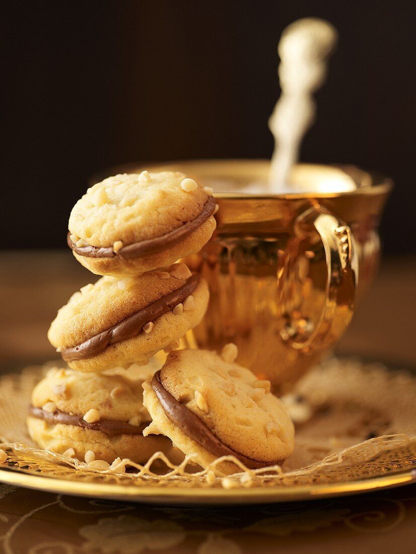 Filled almond biscuits to serve with tea
