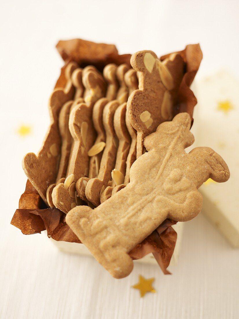 Spekulatius cookies in a gift box