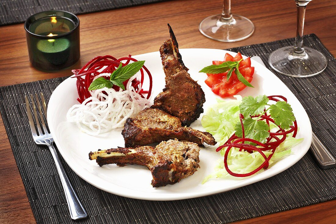 Champ Kandhari (Marinated, grilled lamb chops)