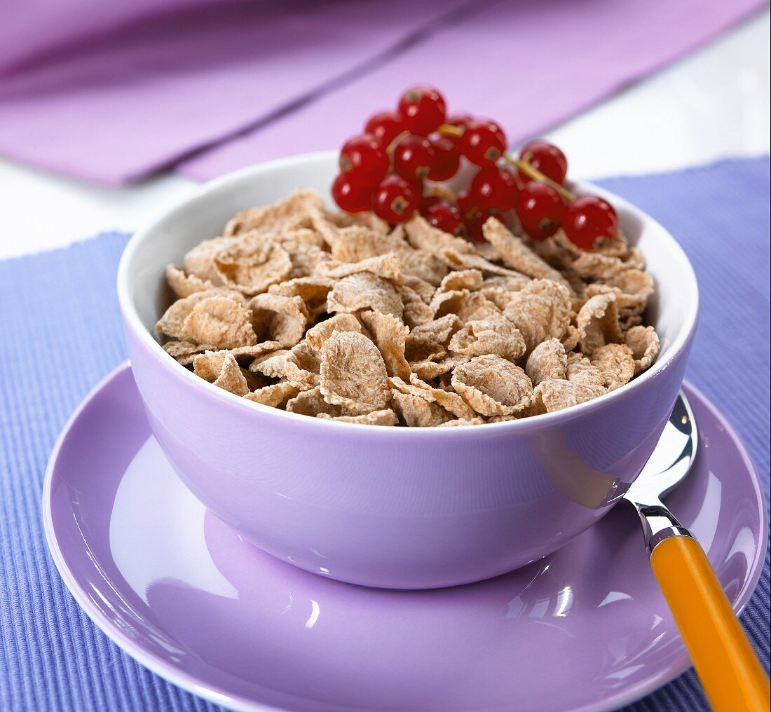 Wheat flakes in a bowl