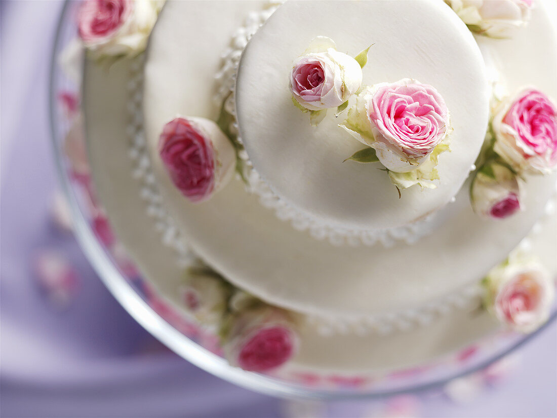 White wedding cake (from above)