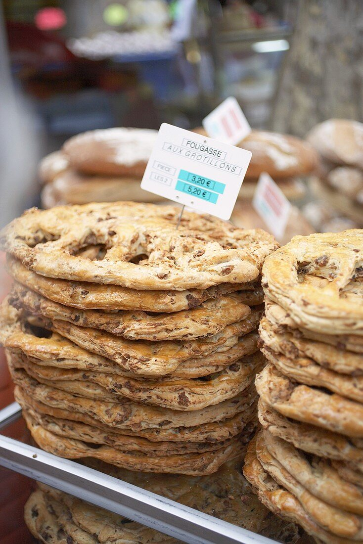 Fougasse, filled flatbread from Provence on a market stall