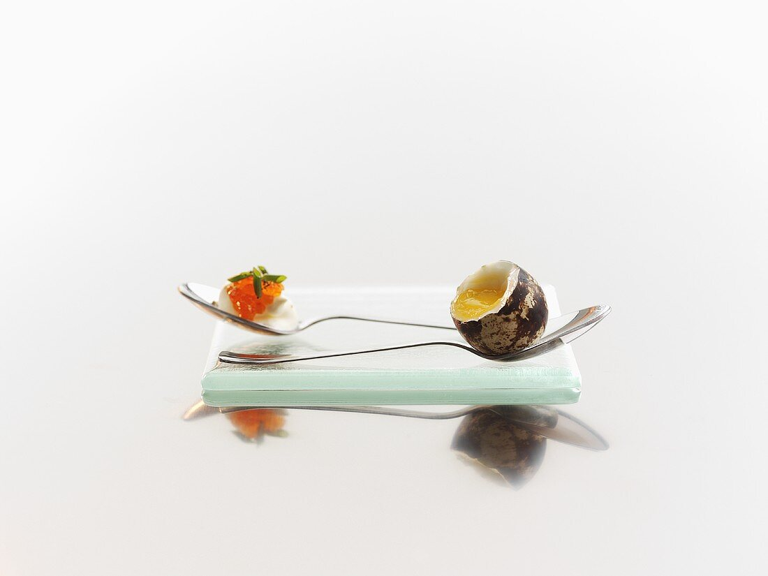 Boiled quail's egg with crème fraîche and trout caviar