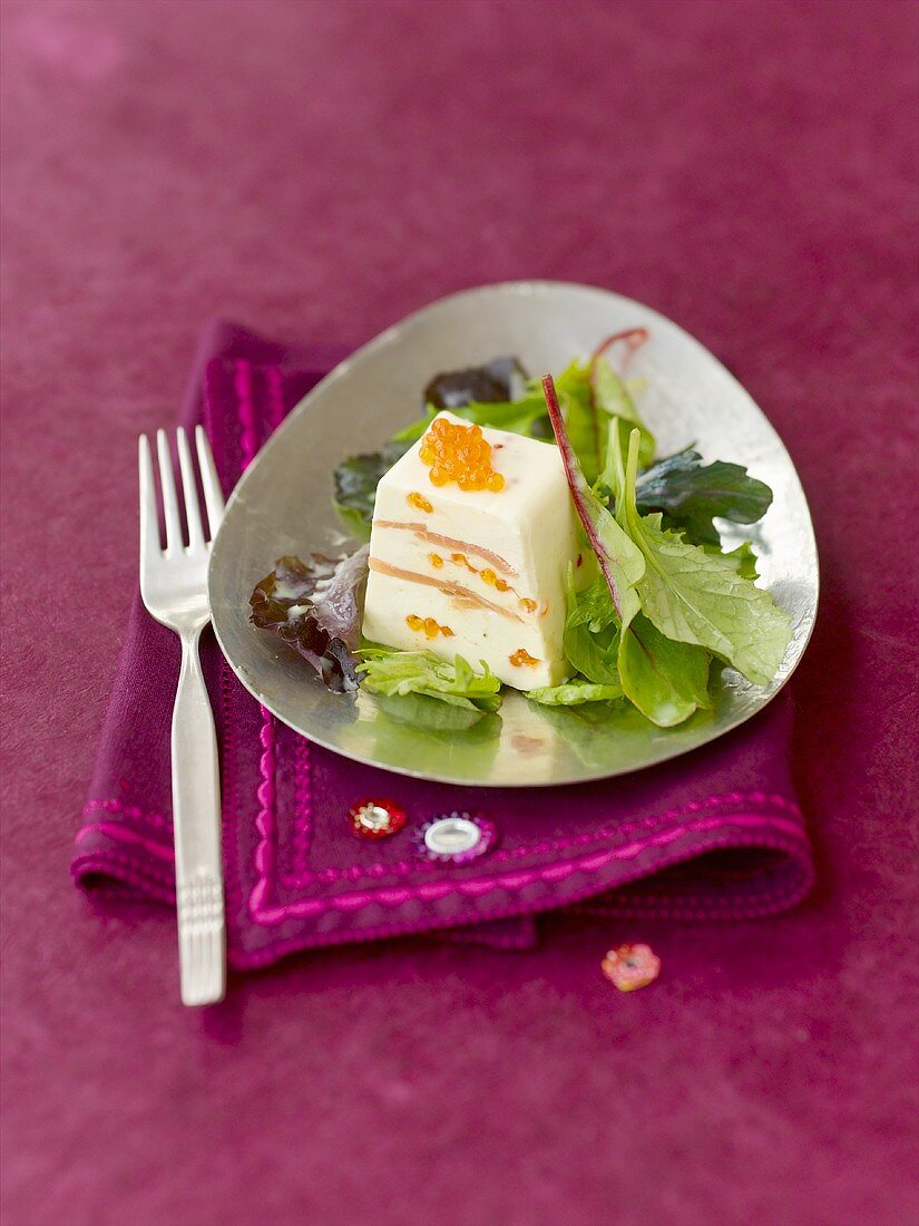 Salmon terrine with horseradish and trout caviar