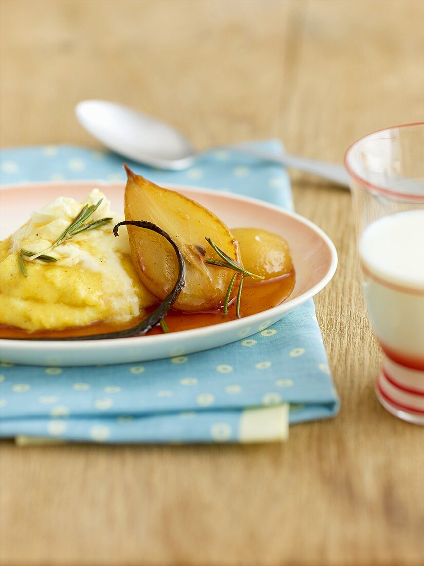 Sweet polenta with rosemary pears