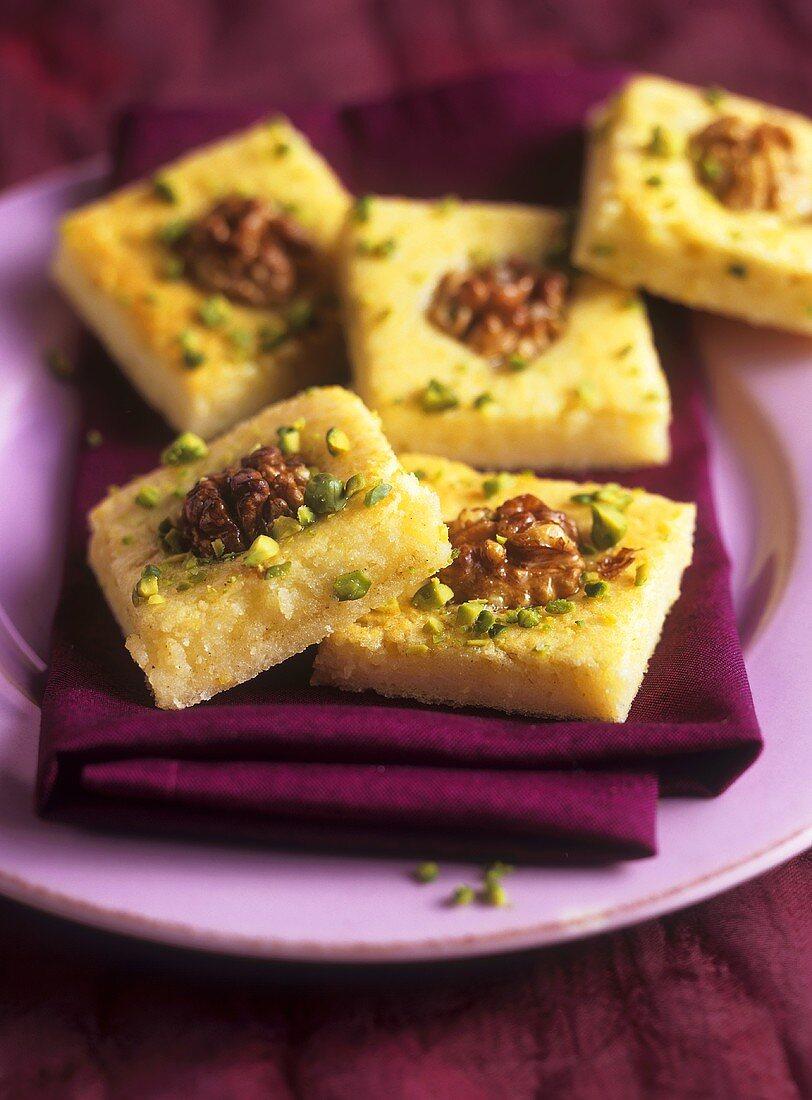 Lemon semolina slices with walnuts (Arab cuisine)