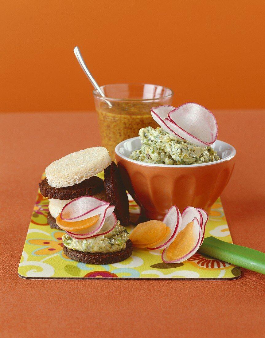 Pistachio spread and home-made mustard