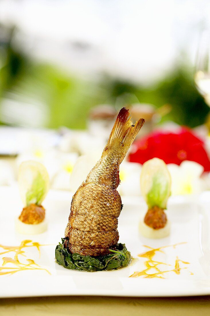 Fish with seafood and spinach stuffing (Seychelles)