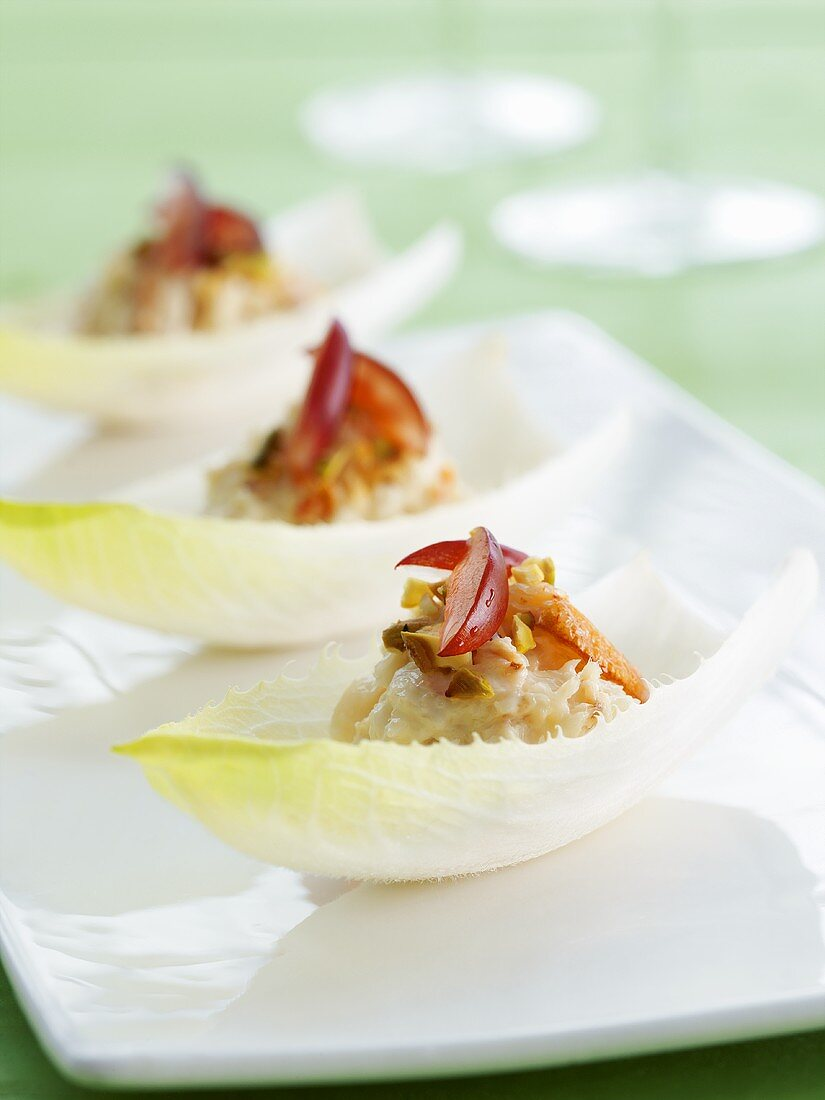 Chicory leaves filled with crab salad