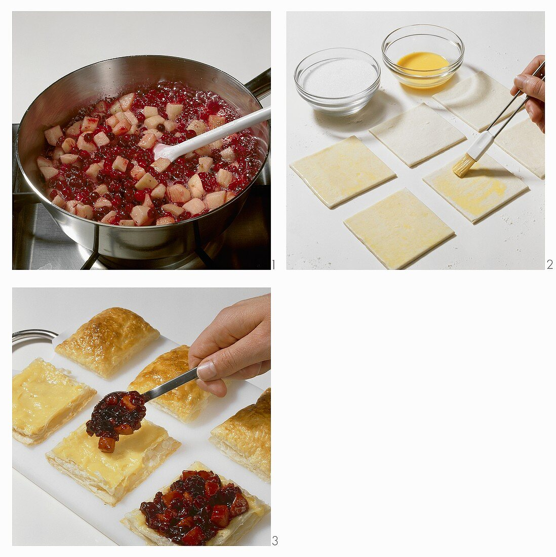 Making puff pastry squares with apple & cranberry filling