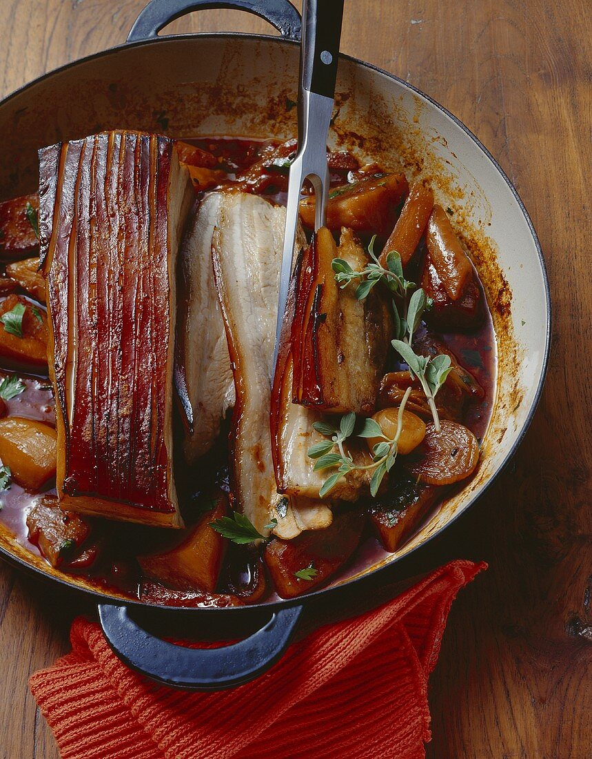 Belly pork with country vegetables and malt beer