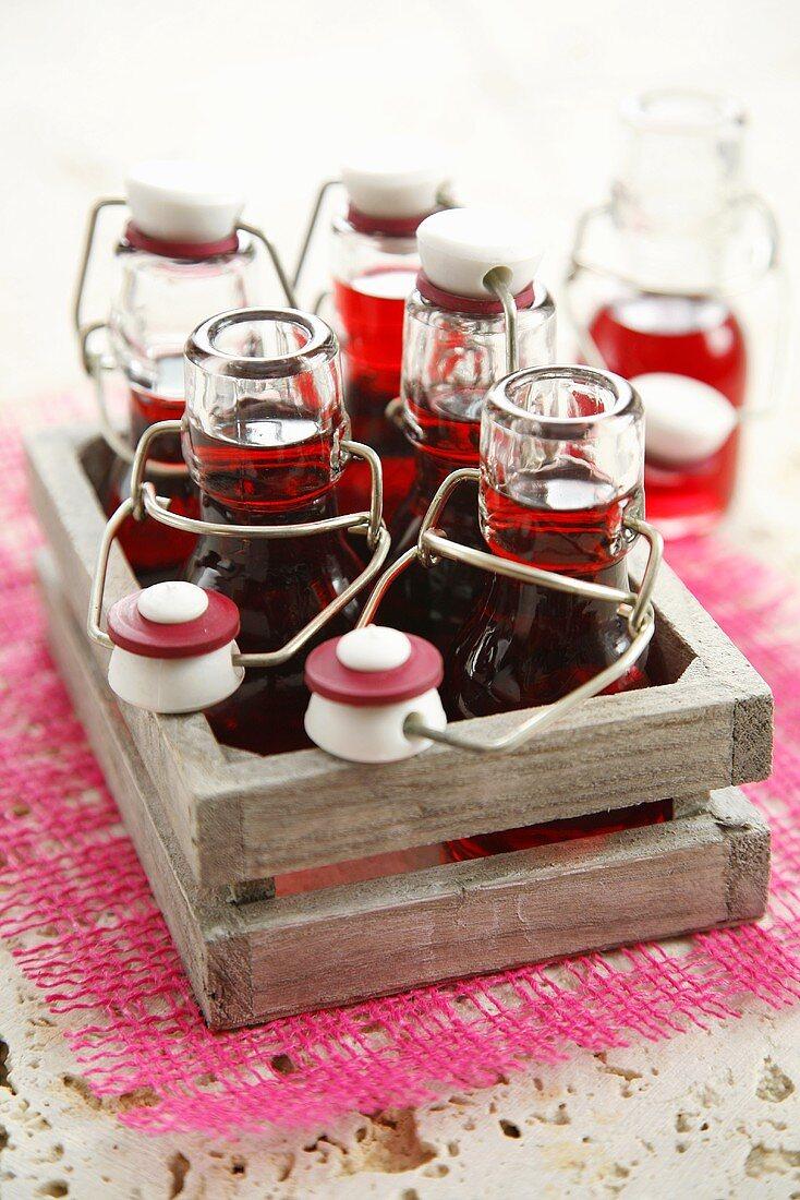 Cherry liqueur in small flip-top bottles