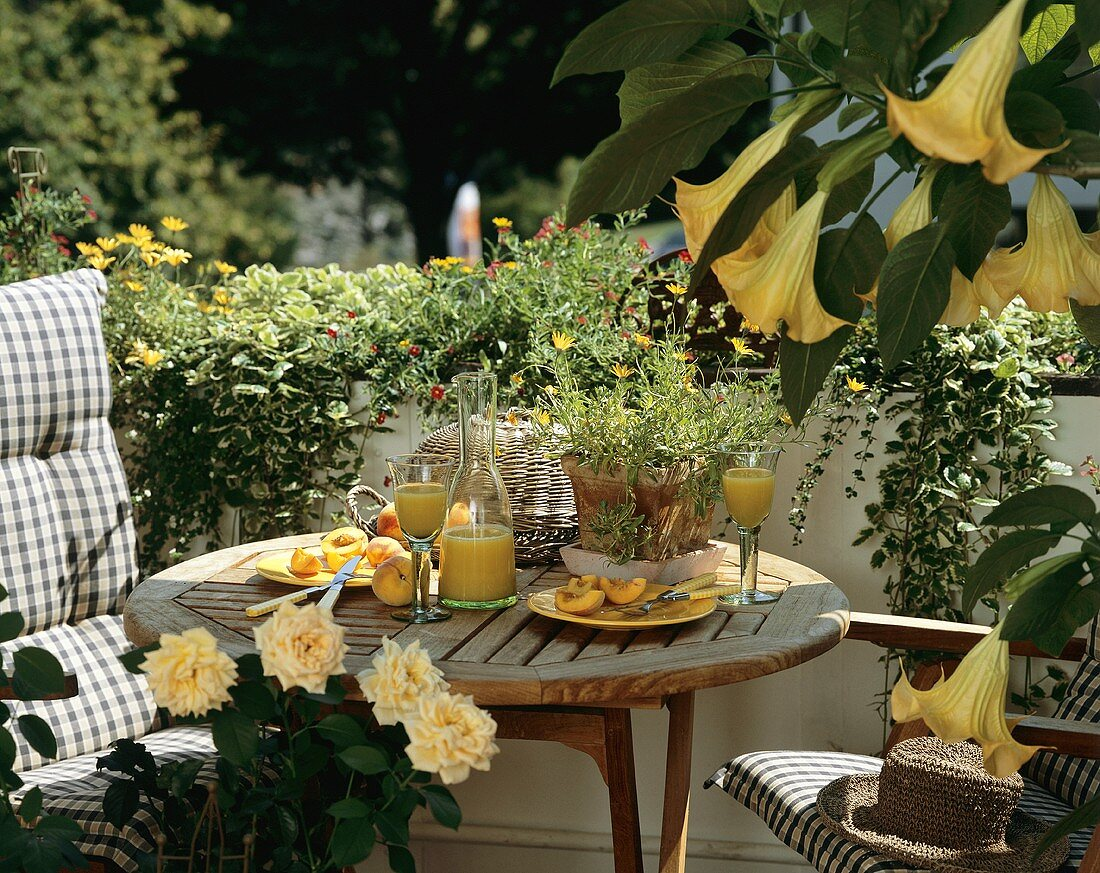 Balcony table with peaches and peach juice