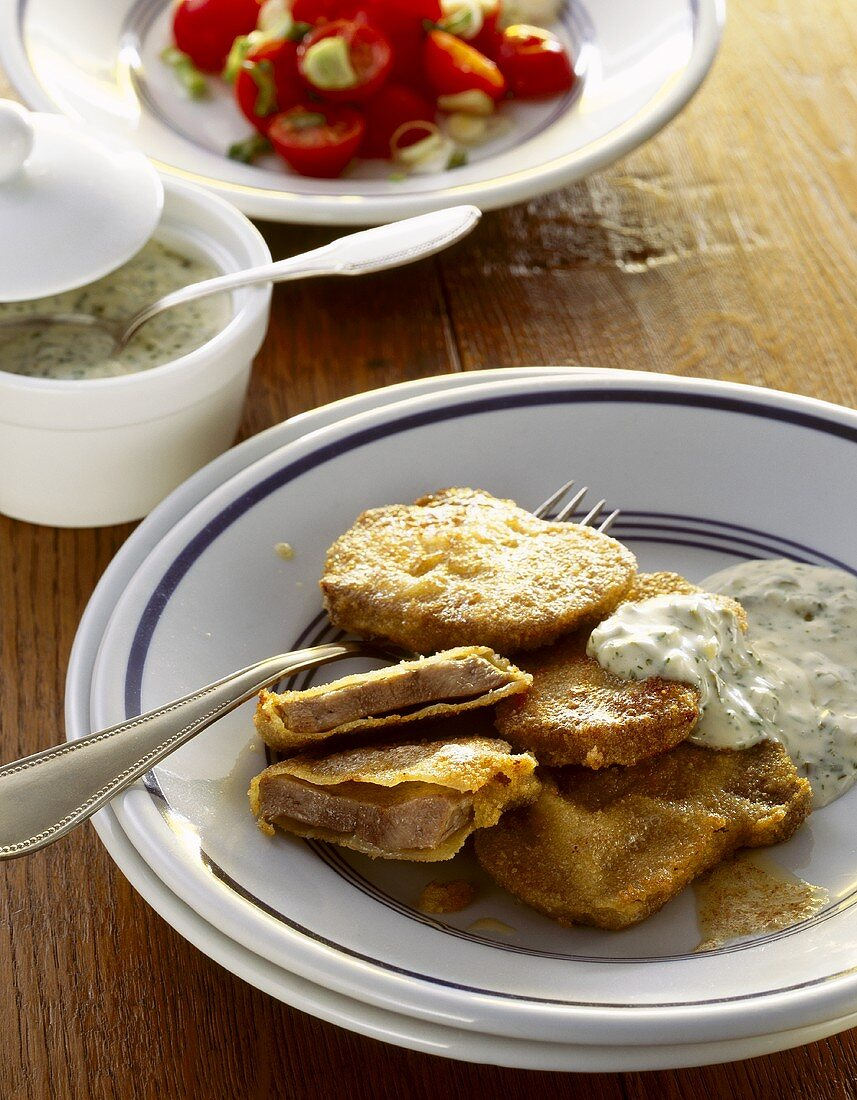 Fried veal tongue with remoulade sauce