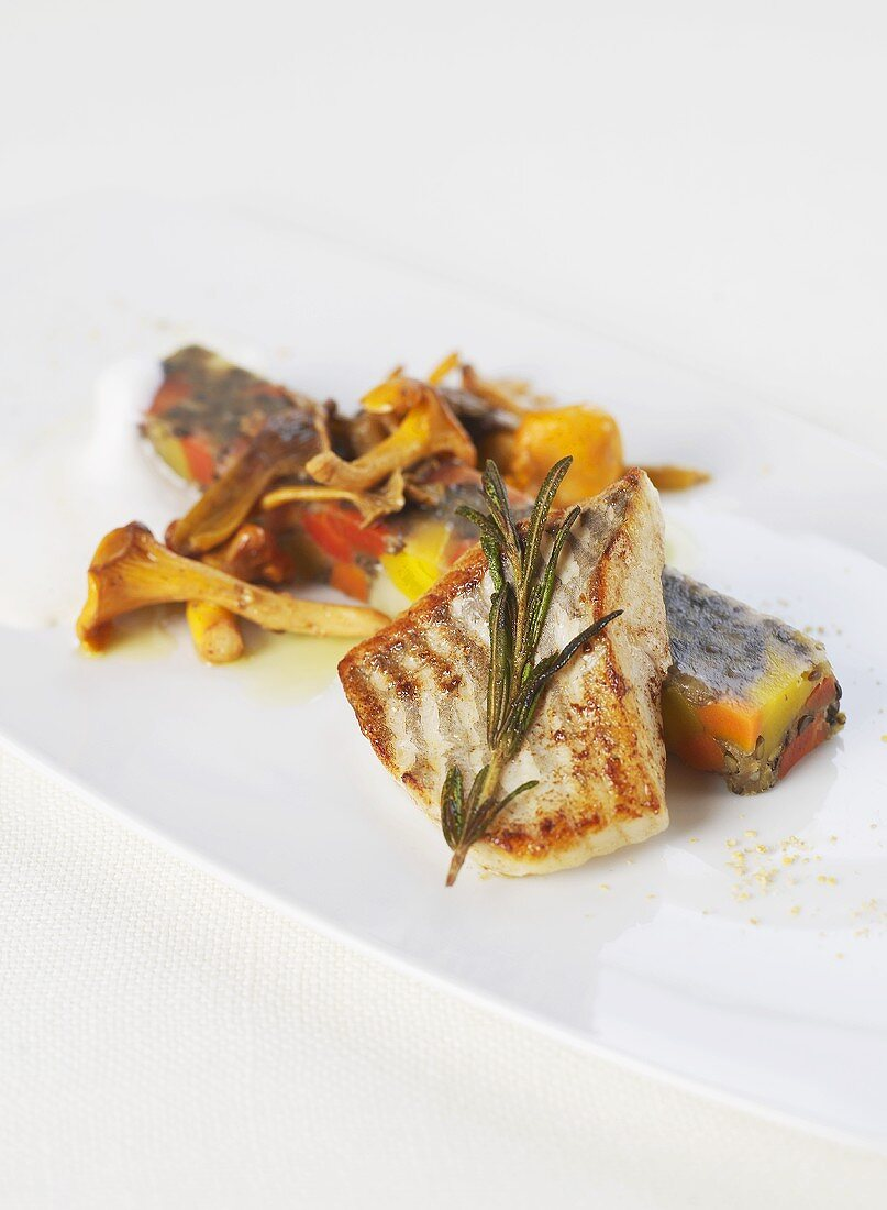 Turbot fillet with rosemary and chanterelles