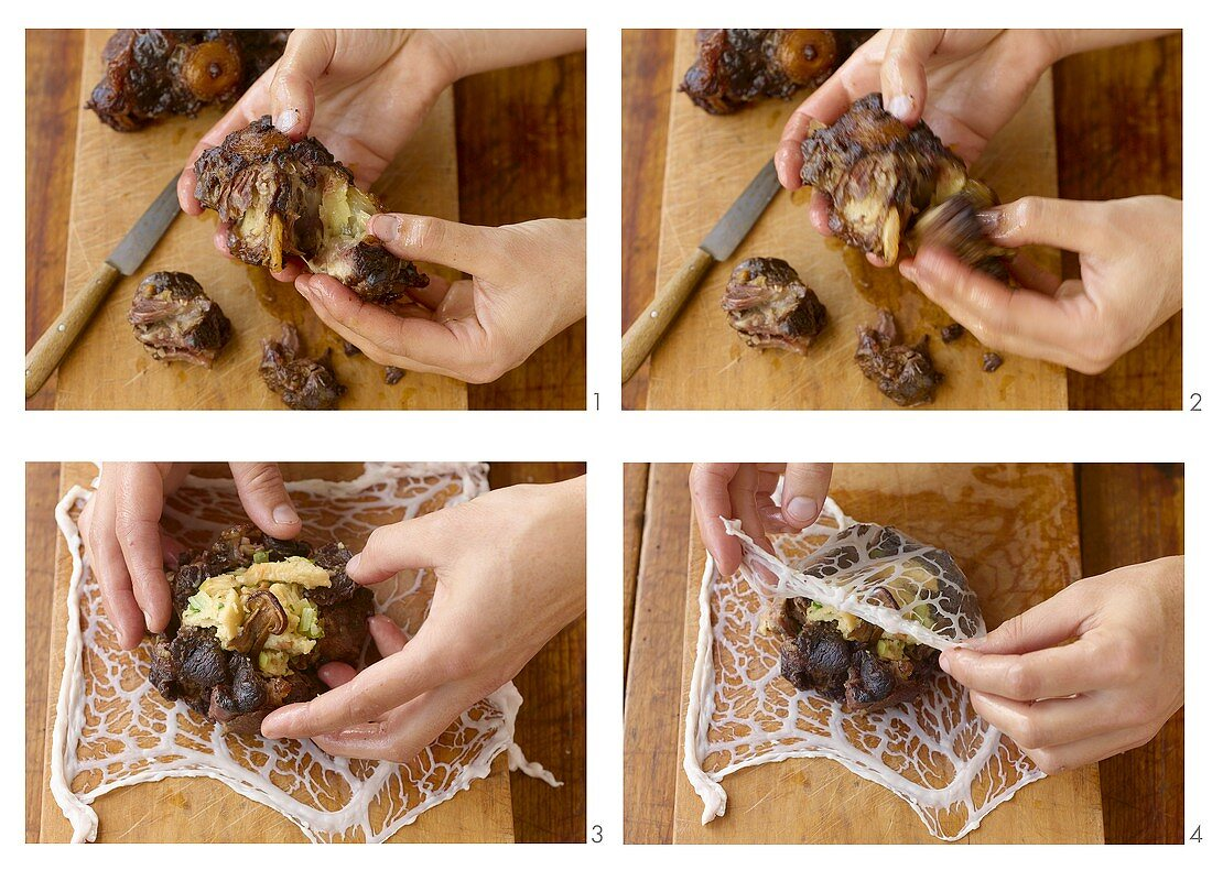 Preparing oxtail with cep stuffing