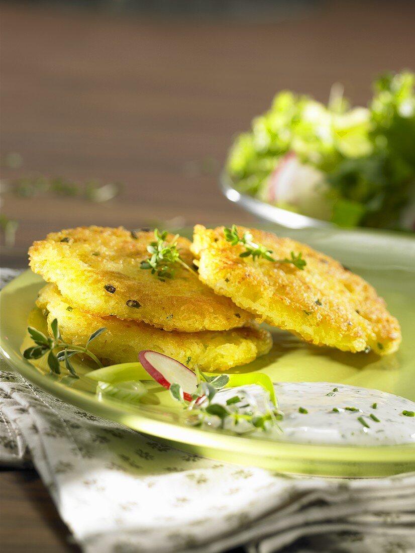 Potato pancakes with herb quark