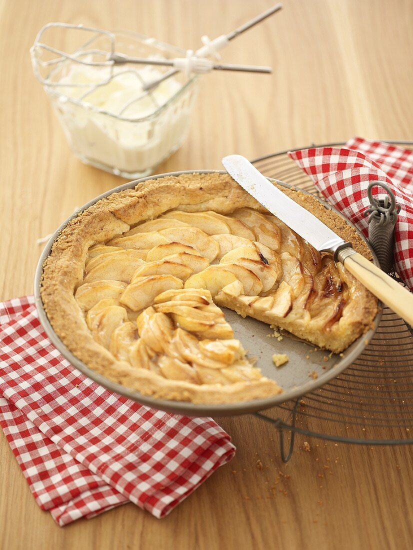 Apple pie with a piece removed