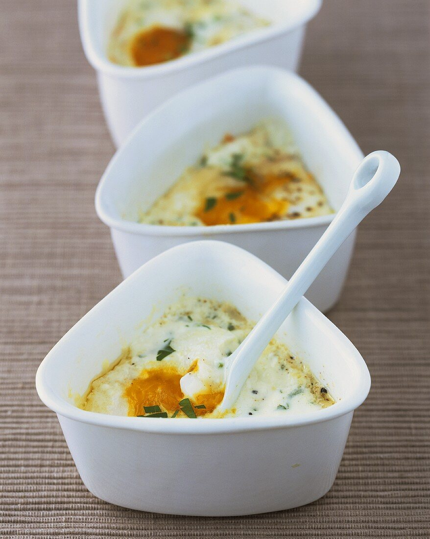 Oeufs cocotte (baked eggs, France) with tarragon