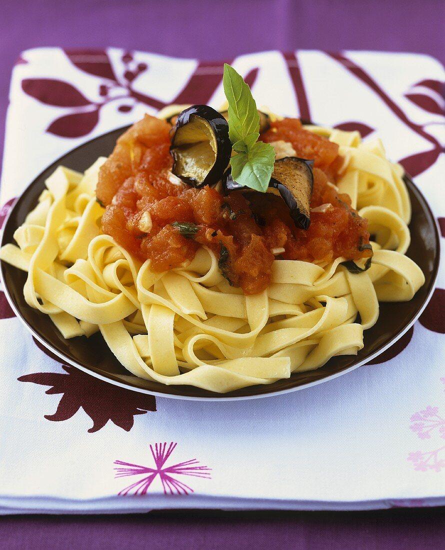 Pasta alla norma (Pasta with tomatoes & aubergine, Italy)