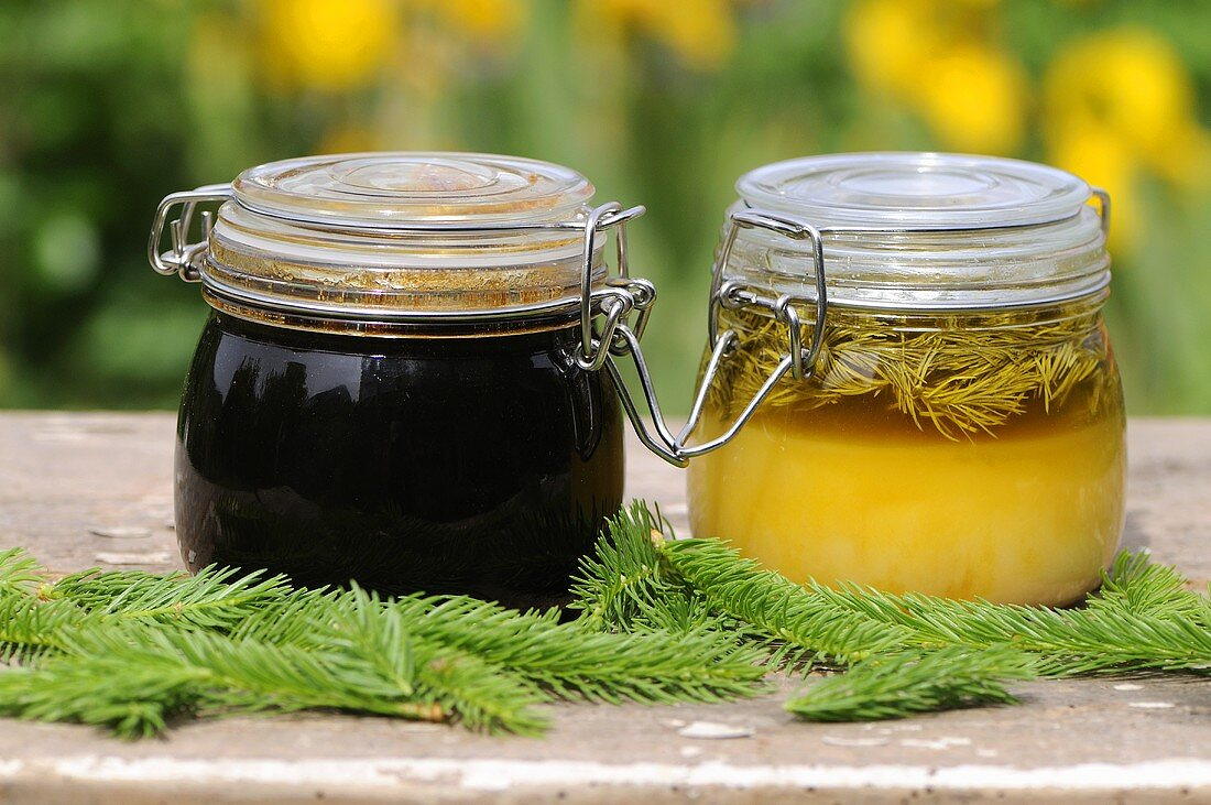 Spruce tip syrup and honey