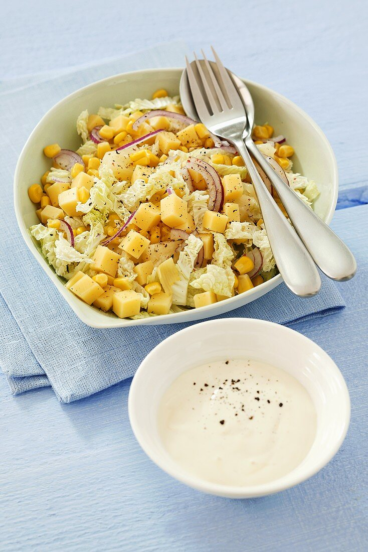 Cheese, sweetcorn, Chinese cabbage and onion salad