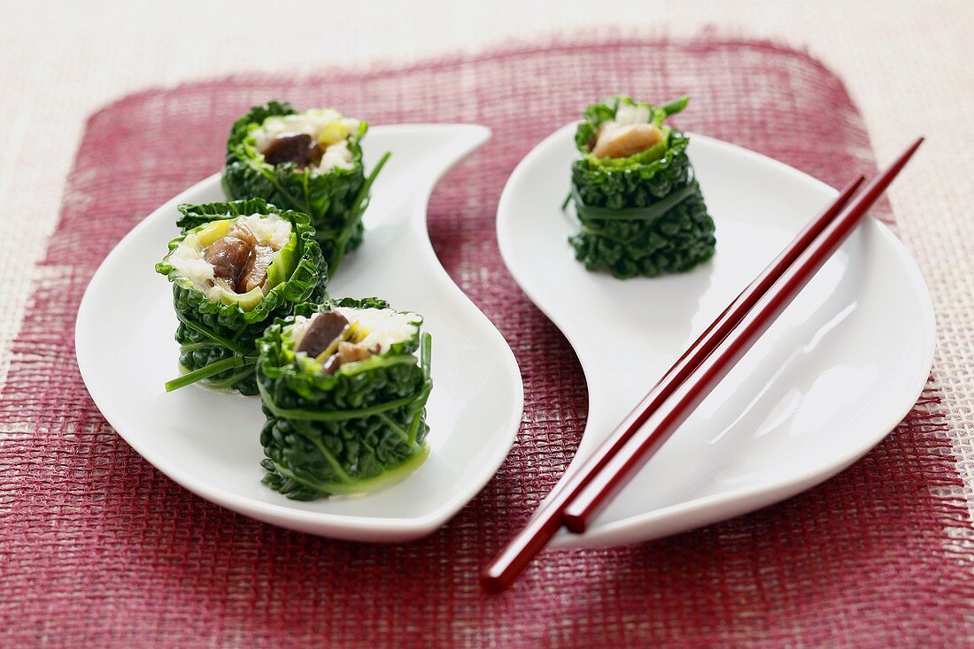 Savoy cabbage leaves with rice & mushroom stuffing (sushi style)