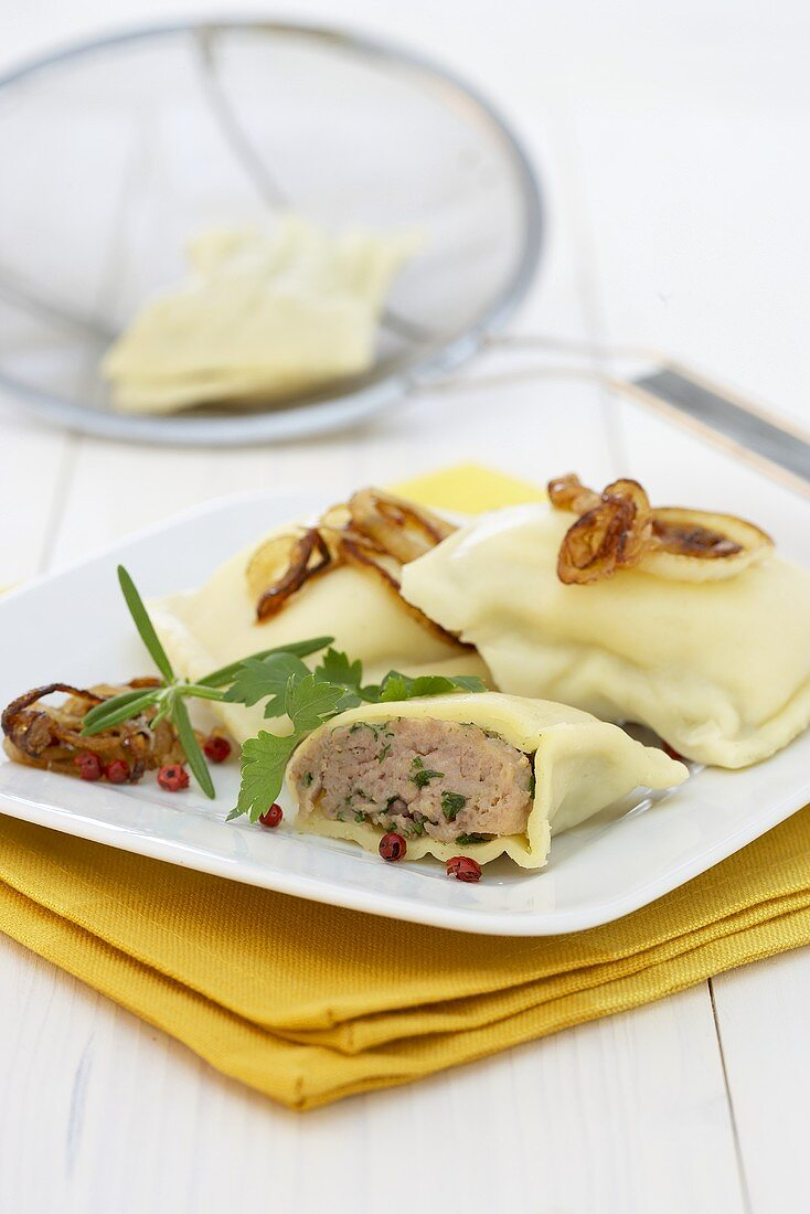 Maultaschen (filled pasta) with meat filling