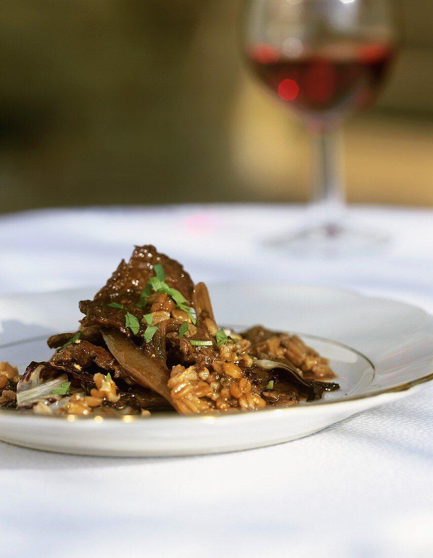 Straccetti con farro (Beef with spelt, Italy)