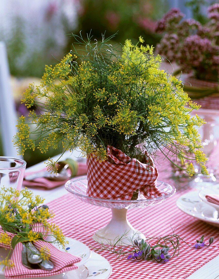Table decoration of fennel flowers with checked napkin