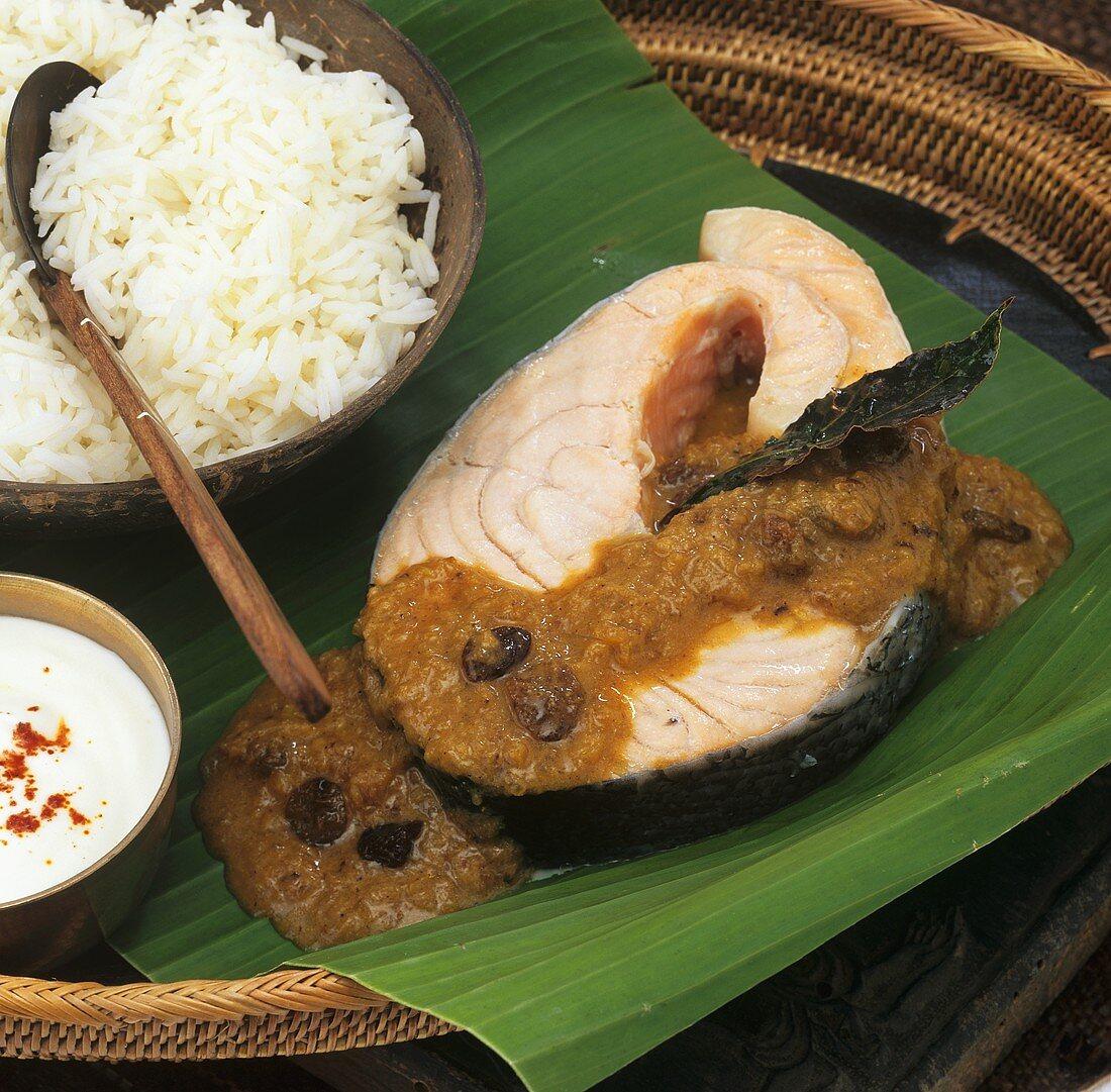 Salmon steak in yoghurt sauce (Bengal, India)