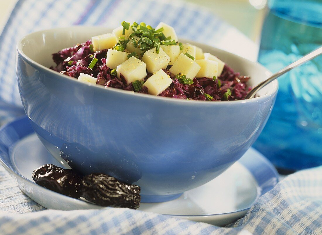 Red cabbage salad with goat's cheese