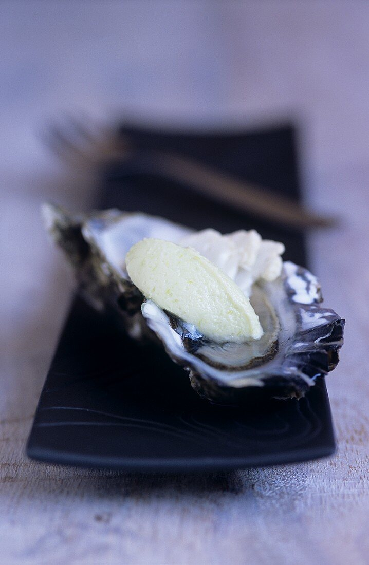 Oyster with wasabi and cauliflower