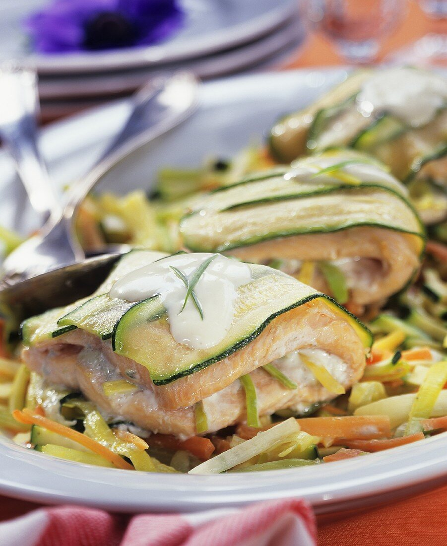 Fish parcels wrapped in courgette