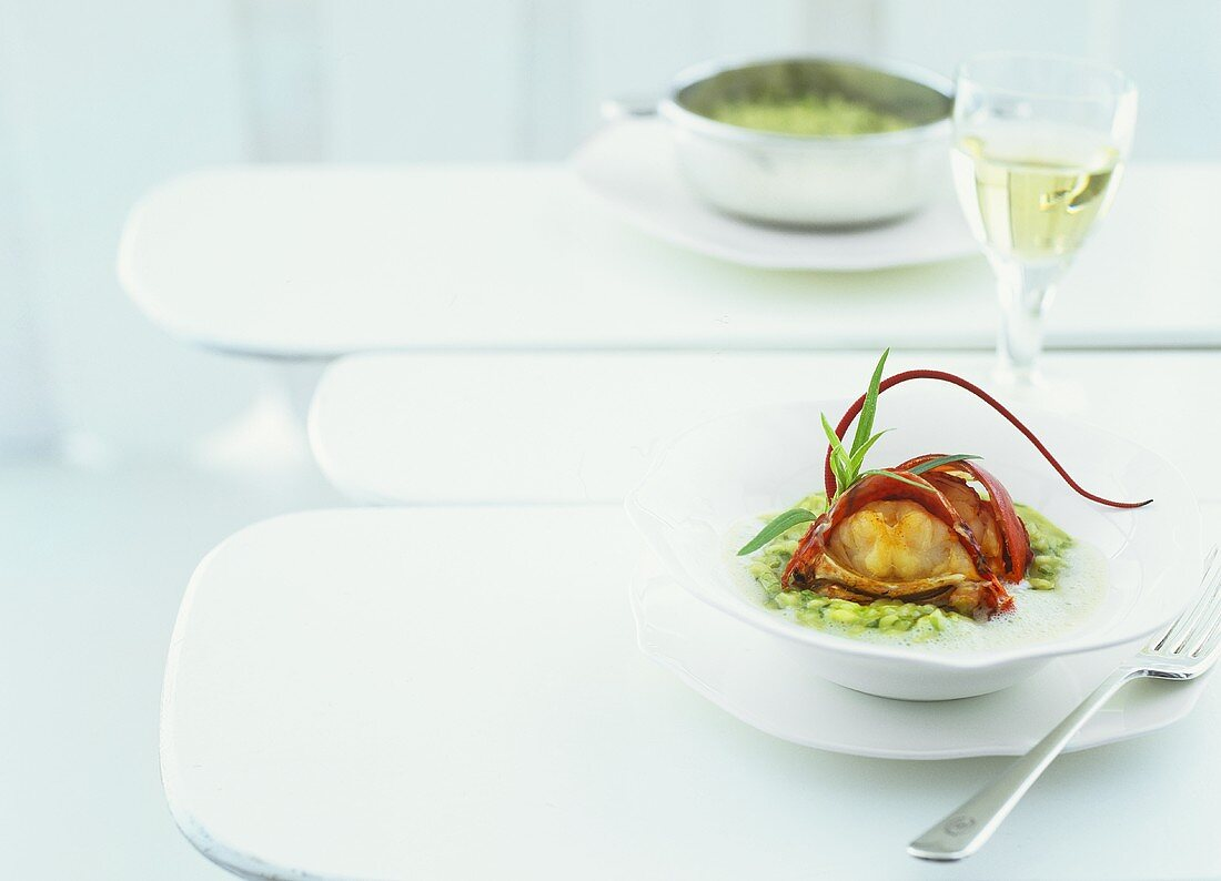 Lettuce risotto with fried lobster and white bacon foam