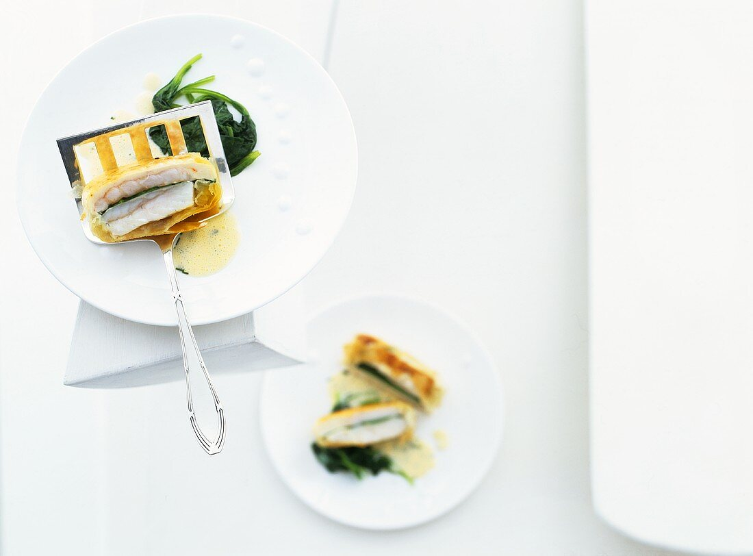 Turbot and Norway lobster baked in pastilla pastry