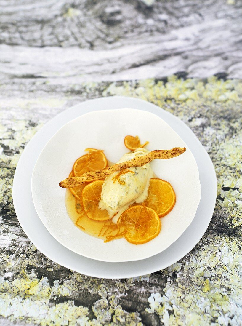 Olive ice cream with clementine compote