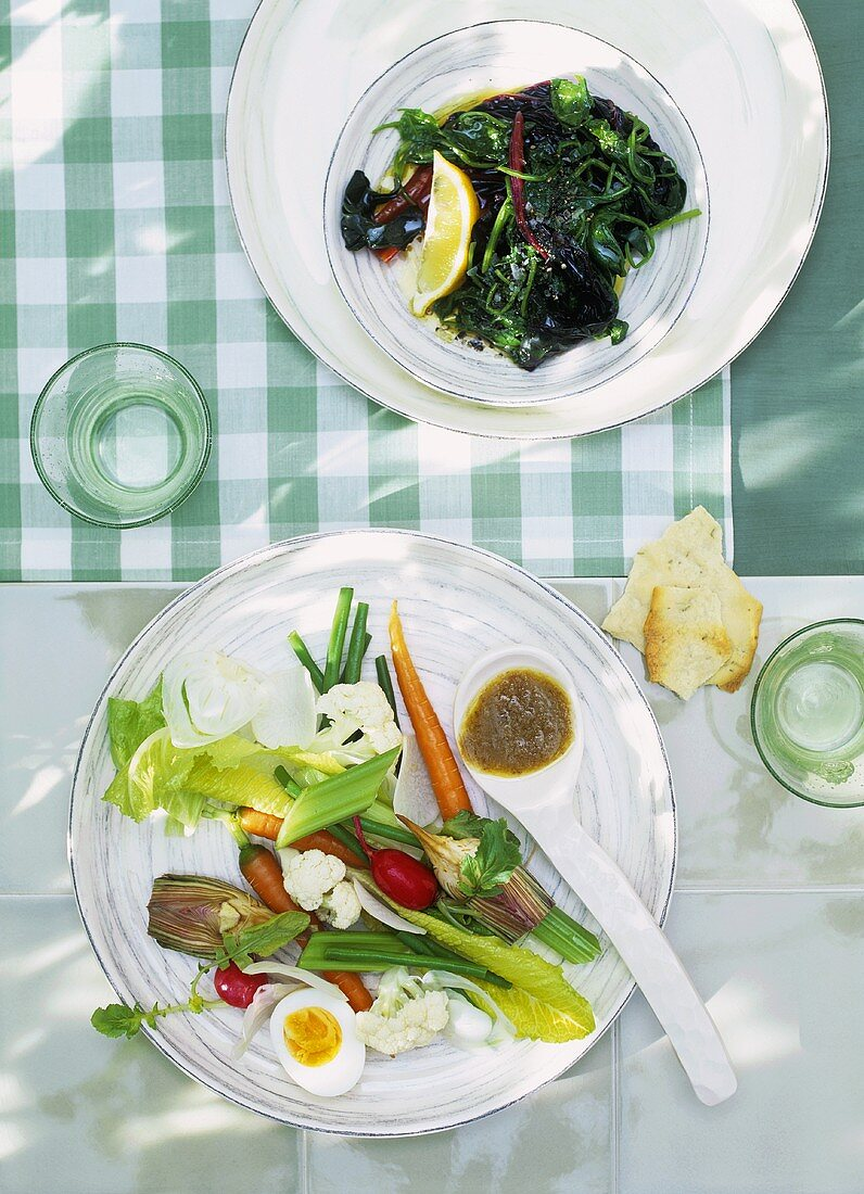 Vegetables with egg & anchovy paste, blanched leafy vegetables with Ladolemono sauce