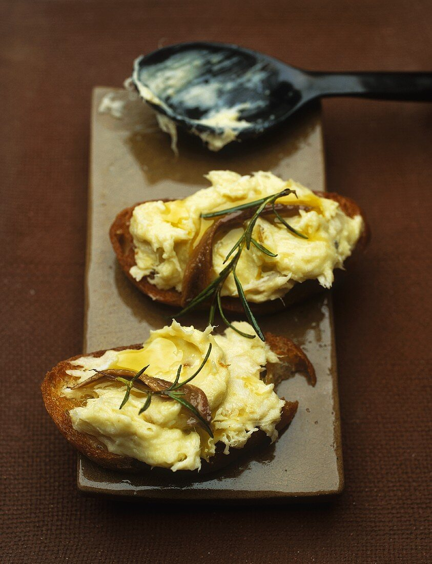 Brandade (salt cod and potato puree) on toast