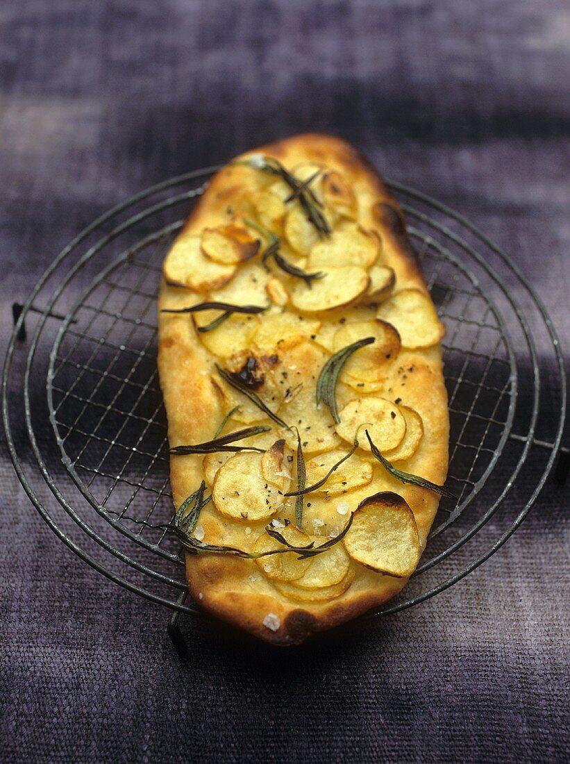 Potato pizza with rosemary